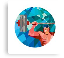 Weightlifter Snatch Grab Lifting Barbell Low Polygon Canvas Print