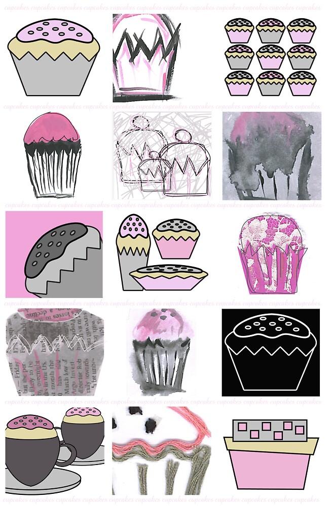 mixed media cupcakes  by erinjean