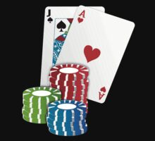 Jack and Ace, Texas Hold'em Poker, Coin Stacks by tshirtdesign