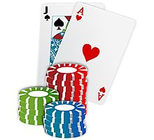 Jack and Ace, Texas Hold'em Poker, Coin Stacks Photographic Print