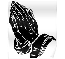 Praying to God (Hands Silhouette Symbol, Icon) Poster