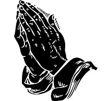 Praying to God (Hands Silhouette Symbol, Icon) Photographic Print