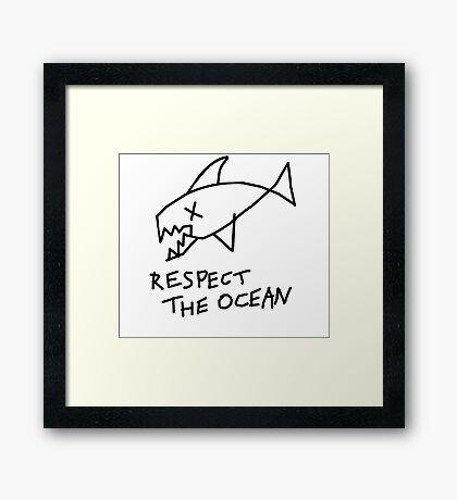 Respect the Ocean - Cool Grunge Mashup - White Version Framed Print