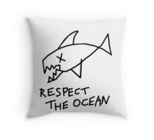 Respect the Ocean - Cool Grunge Mashup - White Version Throw Pillow