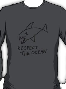 Respect the Ocean - Cool Grunge Mashup - White Version T-Shirt