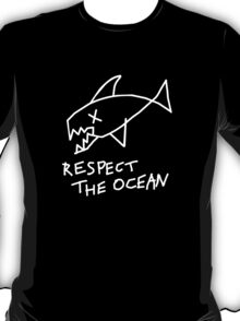 Respect the Ocean - Cool Grunge Mashup - Black Version T-Shirt