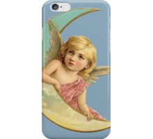 Angel and the crescent  moon iPhone Case/Skin