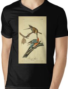 James Audubon Vector Rebuild - The Birds of America - From Drawings Made in the United States and Their Territories V 1-7 1840 - Passenger Pigeon Mens V-Neck T-Shirt