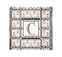 1920s Pink Champagne Gatsby Monogram letter C Scarf