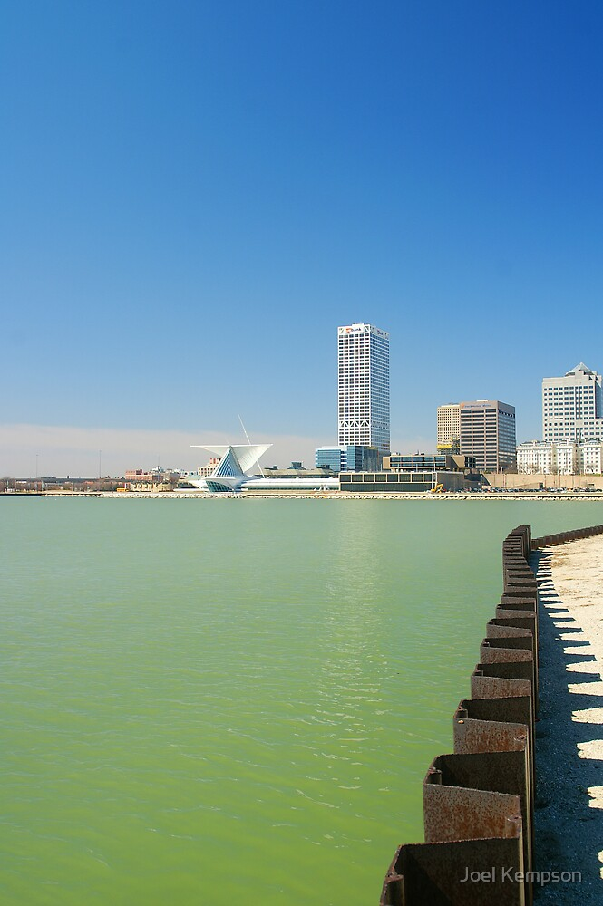 Milwaukee Lake City Scape With City Bank. by Joel Kempson