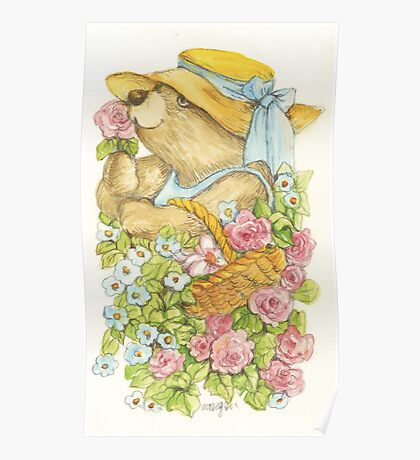 Teddy in the Garden Poster