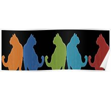 Reflected Images Of A Line Of Cats on Black Poster