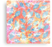 Whimsical Watercolor Leaves in Blue and Orange Canvas Print