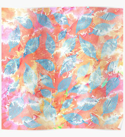 Whimsical Watercolor Leaves in Blue and Orange Poster