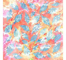 Whimsical Watercolor Leaves in Blue and Orange Photographic Print