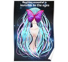 Anime girl with blue hair and butterfly Poster