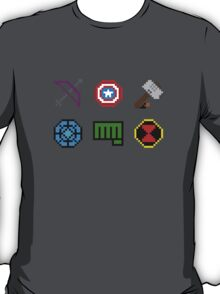 large 8 bit avengers symbols T-Shirt