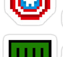large 8 bit avengers symbols Sticker