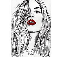 Girl with the Red Lips Photographic Print