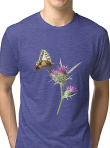 Scarce Swallowtail Butterfly and Thistle Background Removed Tri-blend T-Shirt