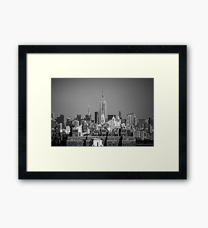Empire State Building from Brooklyn Bridge Framed Print