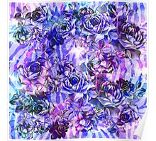 Pink, Purple, and Blue Watercolor Roses Poster
