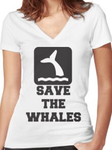 Save The Whales, Icon, Quote Women's Fitted V-Neck T-Shirt