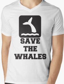 Save The Whales, Icon, Quote Mens V-Neck T-Shirt