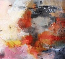 Red Orange Abstract Original Painting on Print  by AndradaArt