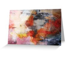 Red Orange Abstract Original Painting on Print  Greeting Card