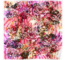 Pink Vintage Watercolor Roses Poster
