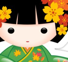 Japanese Fall Kokeshi Doll Sticker