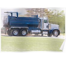 Trucks- Empty Dump Truck Speeding Away From a Construction Site Poster