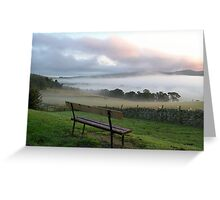misty bench view Greeting Card