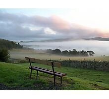 misty bench view Photographic Print