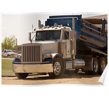 Trucks - Dump Truck Emptying Its Cargo on a Construction Site Poster