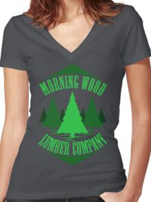 Morning Wood Women's Fitted V-Neck T-Shirt