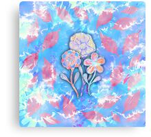 Whimsical Watercolor Leaves and Flowers  Canvas Print