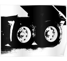 Trucks - Detail of Rear Axels & Tires in High Contrast B&W Poster