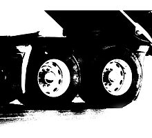 Trucks - Detail of Rear Axels & Tires in High Contrast B&W Photographic Print