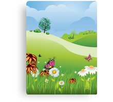 Cartoon Summer Landscape Canvas Print