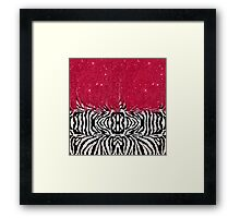 Zebra Print with Faux Pink Glitter Framed Print