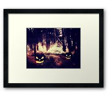 Pumpkins in the Night Forest Framed Print