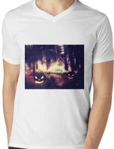 Pumpkins in the Night Forest Mens V-Neck T-Shirt