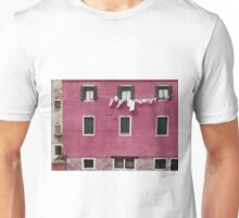 A Venetian View in Deep Pink with Laundry Unisex T-Shirt