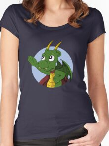 Cute green dragon superhero cartoon Women's Fitted Scoop T-Shirt