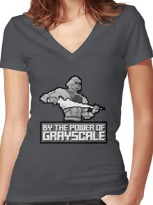By the Power of Grayscale Women's Fitted V-Neck T-Shirt