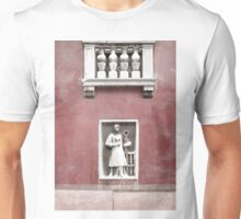 Venetian Balcony and Sculpture on Marsala Wine Red Unisex T-Shirt