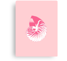 Nautilus Shell - coral pink and white Canvas Print