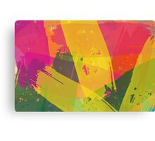 Pink, Yellow and Green Brush Stroke Watercolor Abstract Canvas Print